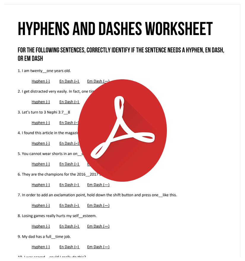 Hyphens and Dashes Worksheet