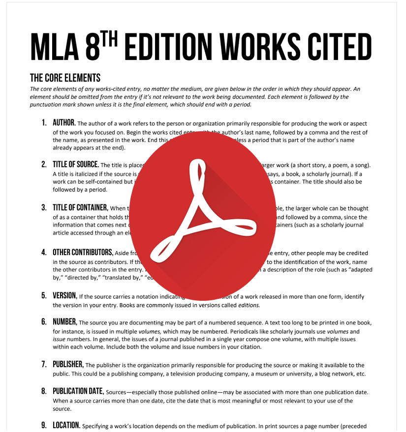 MLA Styleguide 8th Edition