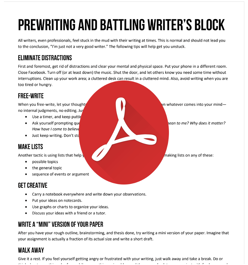 Prewriting and Battling Writers Block