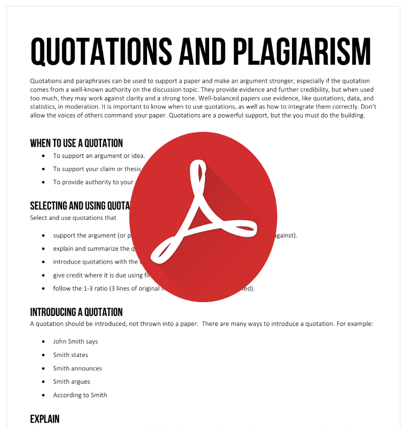 Quotations and Plagiarism