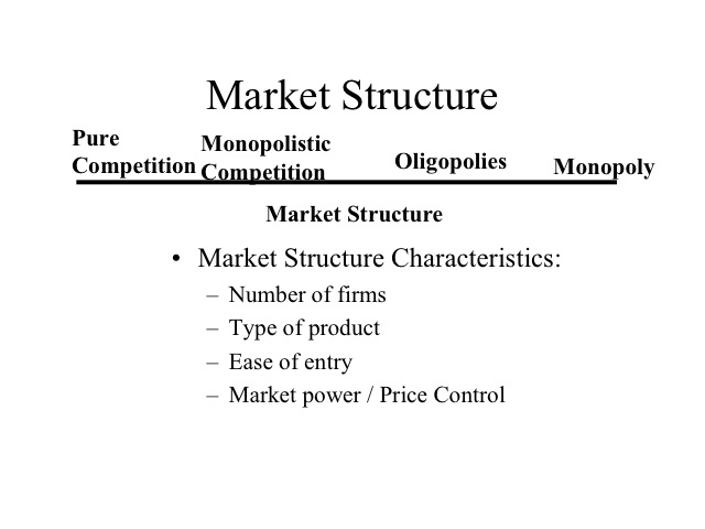 characteristics of oligopoly as one of the basic market structures Main characteristics of oligopoly oligopoly is an important market type in which there are few firms that accounts for producing and selling a product in simple words, it can be best described as a market situation which explains competition between the two.