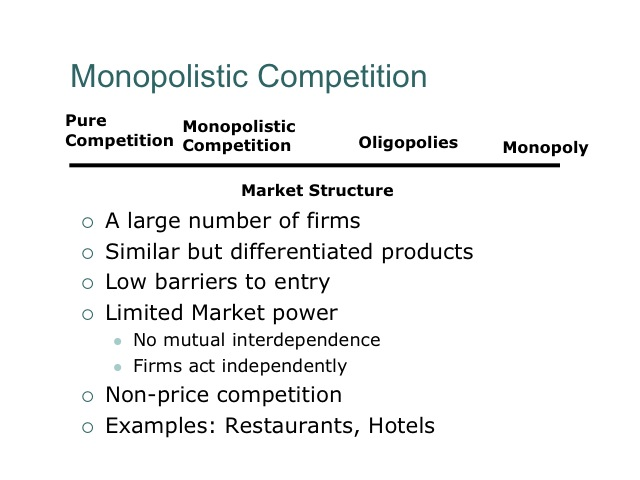 definition and features of monopoly and competition Monopolistic competition is a market structure defined by four main characteristics: large numbers of buyers and sellers the extent to which each firm can take advantage of their monopoly condition depends on the flexibility of their demand curve if it is too rigid (steeper), in order for the monopolist to achieve a higher price, it has.