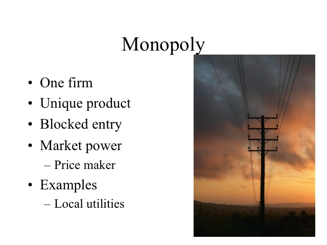 monopolistic and oligopoly market structures The 4 market structures provide a starting point for understanding industry news, policy changes and legislation that help shape your investing decisions.